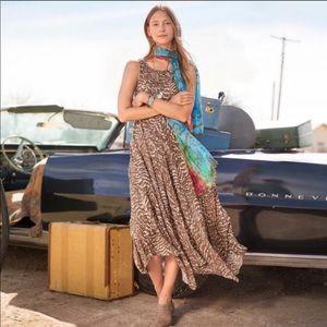 Sundance Selma Dress Brown Tan Handkerchief Hem 10